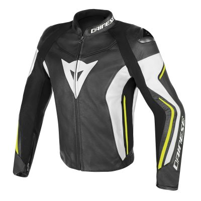 Яке Dainese Assen Leather Jacket black/white/yellow