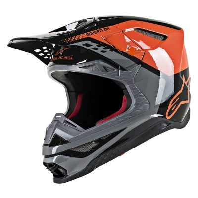 Каска Alpinestars Supertech M8 Triple Orange/Gray