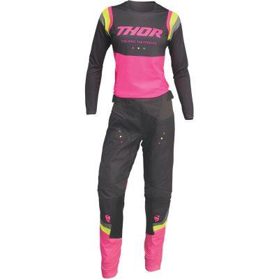 Дамски екип THOR Pulse Rev Charcoal/Flo Pink